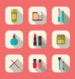 Set beauty and makeup icons with long shadow, modern flat design Stock Image