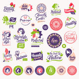 Set of beauty, natural cosmetics and healthcare labels and elements royalty free illustration