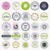 Set of beauty, natural cosmetics and healthcare stickers and badges Royalty Free Stock Photo