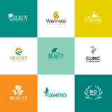 Set of beauty and nature logo templates. Flowers and leaves Royalty Free Stock Image