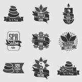Set of beauty spa and massage emblems, badges, logo and labels Royalty Free Stock Photo