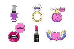 Set of beauty vector illustrations. Fashion stickers made in flat cartoon style. Manicure, makeup beauty set. Stock Photo