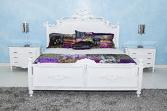 Set of bed with drawers in the bedroom stock photo