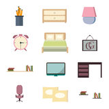 Set bedroom icons interior with furniture flat style  illustration. Stock Photos