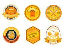 Set bee logo labels for honey products organic farm natural sweet product quality healthy food vector illustration. Royalty Free Stock Photography