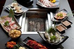 Set of beef and seafood for Yakiniku Stock Photography