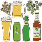 Set of beer bottle, vector Royalty Free Stock Photos