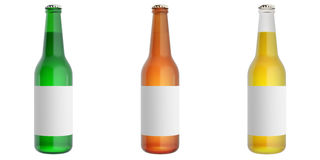 Set beer bottles with blank label Royalty Free Stock Photography