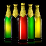 Set of beer bottles isolated on black background Stock Images