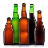 Set of beer bottles isolated Royalty Free Stock Photos
