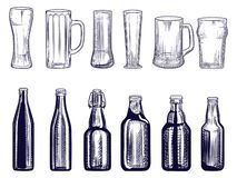 Set of beer bottles and mug. Different Beer glasses. Engraving style. stock photos
