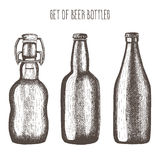 Set of beer bottles. Vector illustration, hand-drawn in ink. Stock Photos