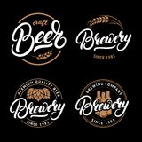 Set of Beer and Brewery hand written lettering logo, label, badge, emblem for pub. Set of Beer and Brewery hand written lettering logo, label, badge, emblem for Stock Photos