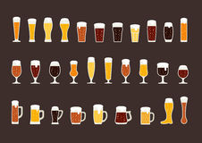 Set of beer with bubbles in glasses and mugs. Vector Stock Photos