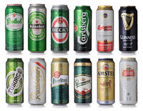 Set of beer cans Stock Image