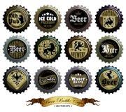 Set of beer caps Stock Photos