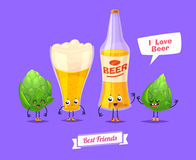 Set of beer characters. Vector cute cartoons Stock Image