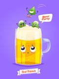 Set of beer characters. Vector cute cartoons Royalty Free Stock Photography