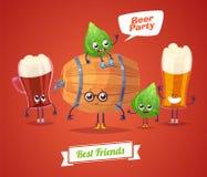 Set of beer characters. Vector cute cartoons Royalty Free Stock Photo