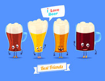 Set of beer characters. Vector cute cartoons Stock Images