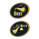 Set of beer emblems, symbols, logo, badges, signs, icons and design elements. Stock Photos