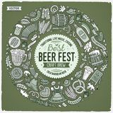 Set of Beer fest cartoon doodle objects round frame. Toned vector hand drawn set of Beer fest cartoon doodle objects, symbols and items. Round frame composition Royalty Free Stock Image