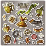 Set of Beer fest cartoon stickers Stock Images