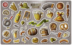Set of Beer fest cartoon stickers. Vector hand drawn objects and symbols collection. Label design elements. Cute patches, pins, badges series. Comic style Stock Photos