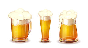 Set of  Beer in glass and mug Royalty Free Stock Images
