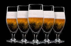 Set of beer glasses on black background Royalty Free Stock Images