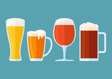 Set of beer glasses  on blue background. Flat style horizontal banner. Set of beer glasses  on blue background. Different types of beer: light, classic, red Stock Photo
