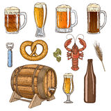 Set of beer glasses, bottle and snack icons Stock Photography
