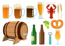 Set of beer glasses, bottle and snack icons Royalty Free Stock Images