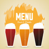 Set of beer glasses. Drink and beverage design. Vector graphic Royalty Free Stock Photos