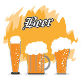 Set of beer glasses. Drink and beverage design. Vector graphic Stock Image