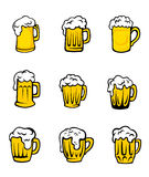Set of beer glasses with fresh foam Stock Image