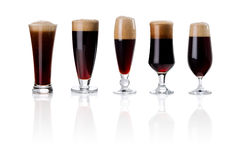 Set of beer glasses isolated on white Stock Photography