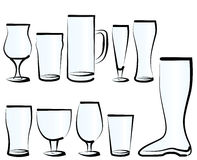 Set of Beer Glasses Royalty Free Stock Photo