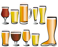 Set of Beer Glasses Royalty Free Stock Photos