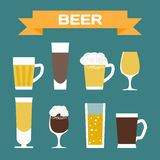 Set of beer glassware. Flat cartoon  illustration Stock Photo