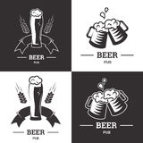Set of beer insignia logos with glassware  on white background. Vintage ale and lager emblem, brewery. Vector Stock Photo