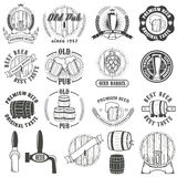 Set of beer labels, badges and design elements. Royalty Free Stock Image