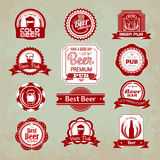 Set of beer labels Royalty Free Stock Photos