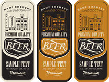 Set of beer labels. And the image of the brewery building royalty free illustration
