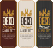 Set of beer labels. And the image of the old castle royalty free illustration