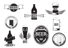 Set of beer labels; vector; retro style; bottle, glass, mug and cap themed; isolated black on white background; collection of beer Stock Photos