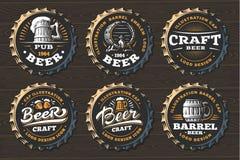 Set beer logo on caps - vector illustration, emblem brewery design. On black background Stock Photography