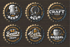 Set Beer Logo On Caps - Vector Illustration, Emblem Brewery Design Stock Photography