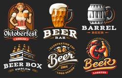 Set beer logo - vector illustration, emblem brewery design. On black background stock illustration