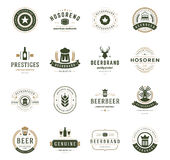 Set Beer Logos, Badges and Labels Vintage Style Royalty Free Stock Photo